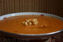 Chickpea soup drizzled with olive oil
