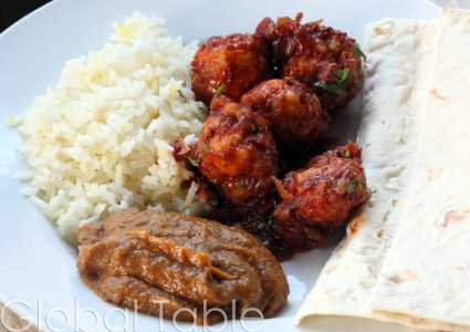 Mulhammar goes great with spicy eggplant and Shrimp Balls