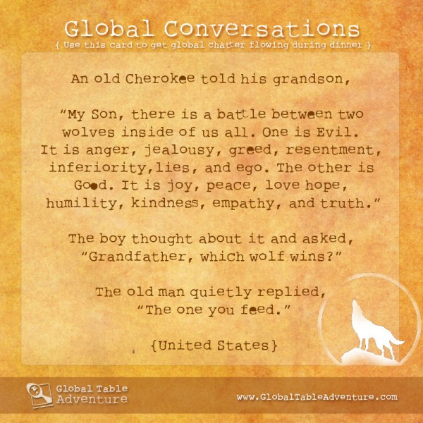 Old Cherokee proverb, Plus dozens of other inspiring quotes from around the world.