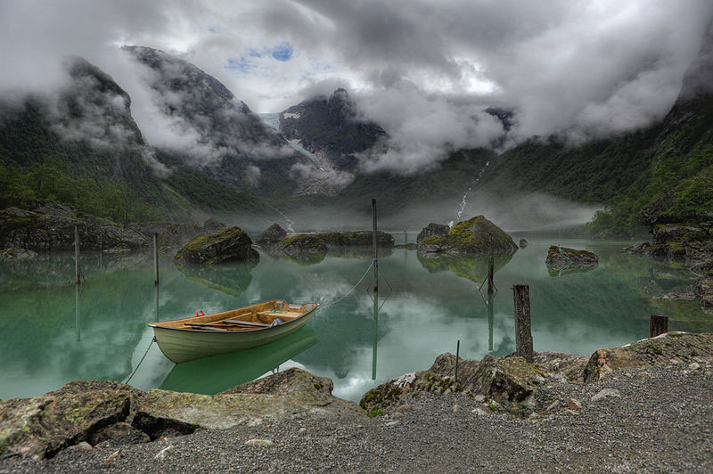 view of Lake Bondhus in Norway, and in the background of the Bondhus ...