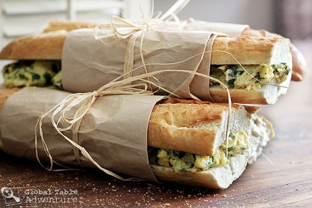 West African Toasted Baguette Sandwich with Spinach Scrambled Eggs ...