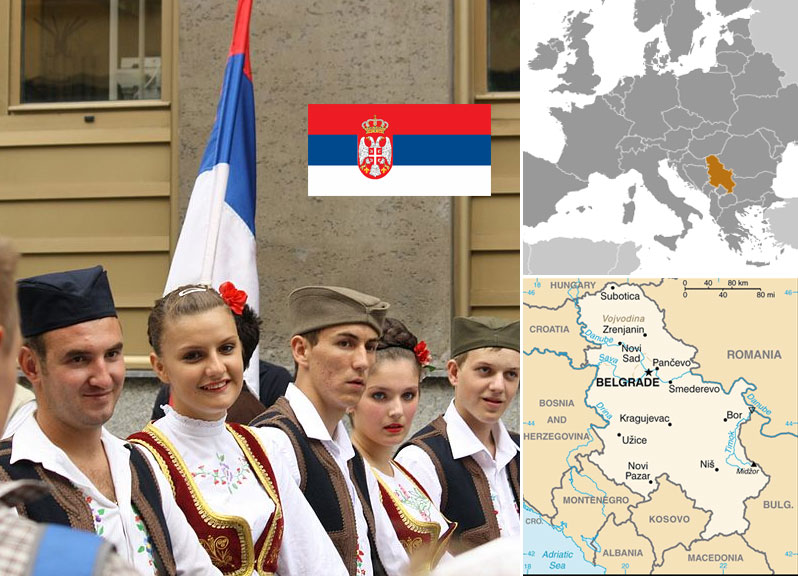 Serbian maps and flag. Photo of Serbian people by  Aktron / Wikimedia Commons.
