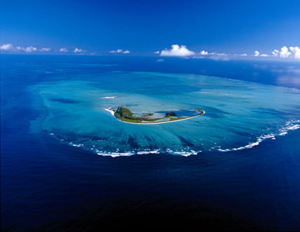 Aerial view of St. François Atoll from south, with St. François Island in the foreground. Outer Islands of the Seychelles. Photo by ACP.