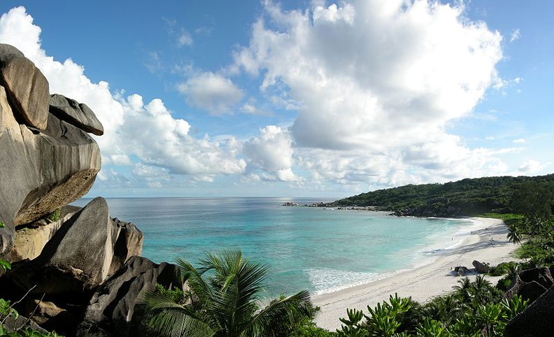 The spectacular beach of Grand Anse on the island of La Digue, Seychelles. Photo by Tobias Alt.
