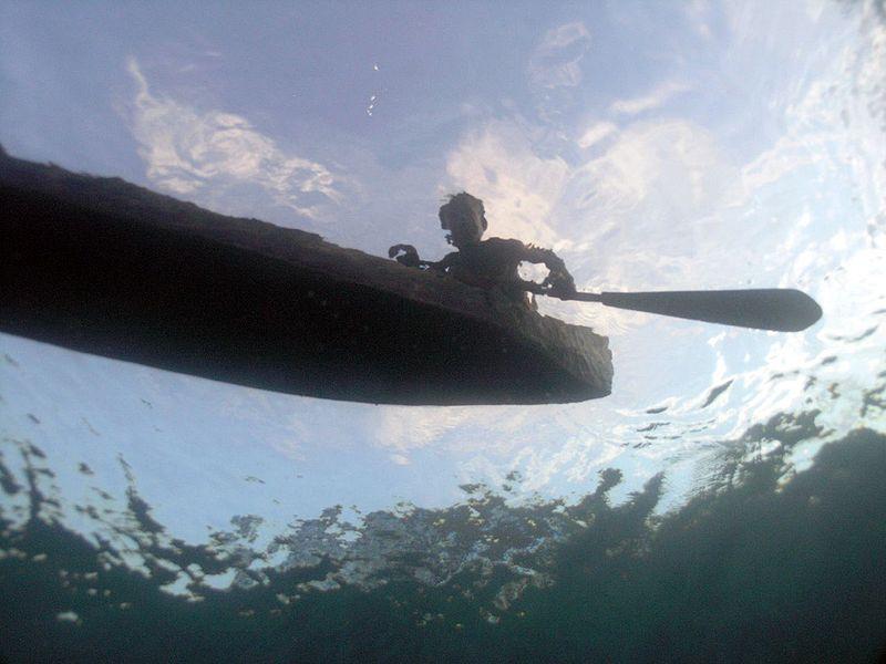 Solomon Dugout Canoe from below. Photo by mjwinoz.