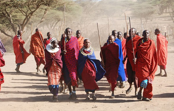 Traditional Dance welcoming us into a Ngorongoro Maasai Village / The Maasai are a Nilotic [Nile Valley] ethnic group of semi-nomadic people located in Kenya and northern Tanzania. Photo by Harvey Barrison.