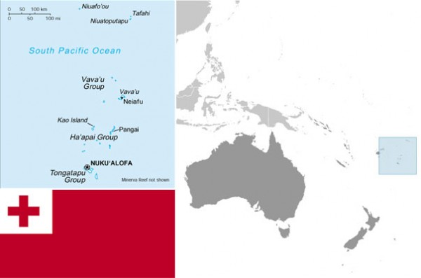 Maps and flag of Tonga, courtesy of CIA World Factbook.