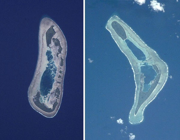 Nui atoll and Nanumea atoll, Tuvalu. Photos by NASA.