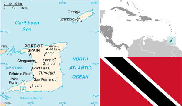 Maps and flag of Trinidad and Tobago courtesy of CIA World Factbook.