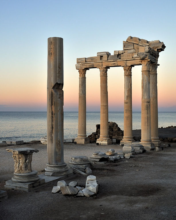 The ruins of the Temple of Apollo at Side, Antalya, Turkey. Photo by Saffron Blaze.