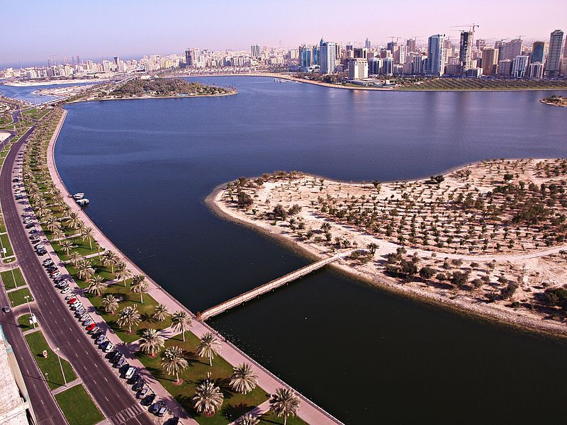 A view of Buhairah Corniche from a residential tower in Sharjah, UAE-by Basil D Soufi