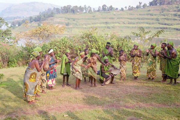 Batwa dancers at Buhoma in Uganda. Photo by Graham Racher.