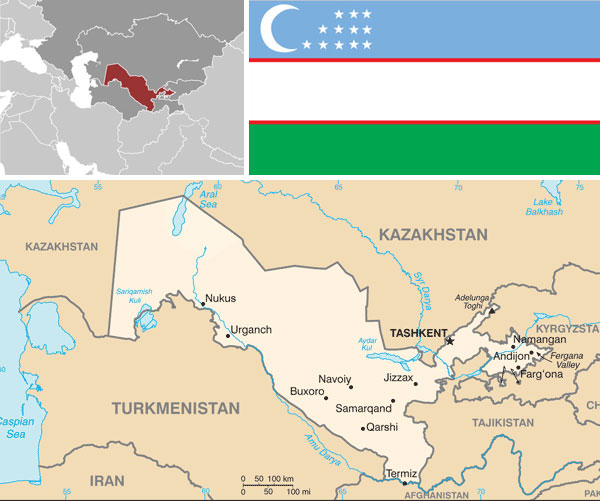 Maps & flag of Uzbekistan, courtesy of the CIA World Factbook.
