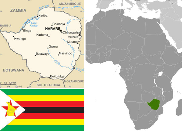 Maps and flag of Zimbabwe courtesy of the CIA World Factbook.