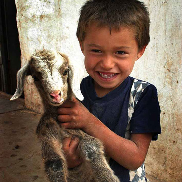 A young boy from Tajikistan holding a goat in 2006. Photo by Steve Evans.