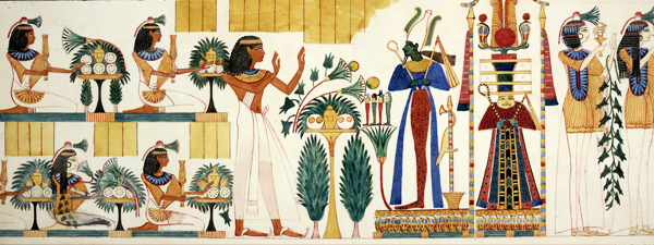 (Whole drawing) Procession of figures with offerings; part of a wall-painting from the tenth tomb at Gourna, Thebes. Made during an expedition to Egypt organised by Robert Hay between 1826 and 1838.