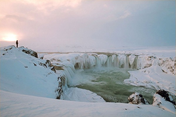 Sunset at Goðafoss in Winter, Iceland. Photo by Andreas Tille.