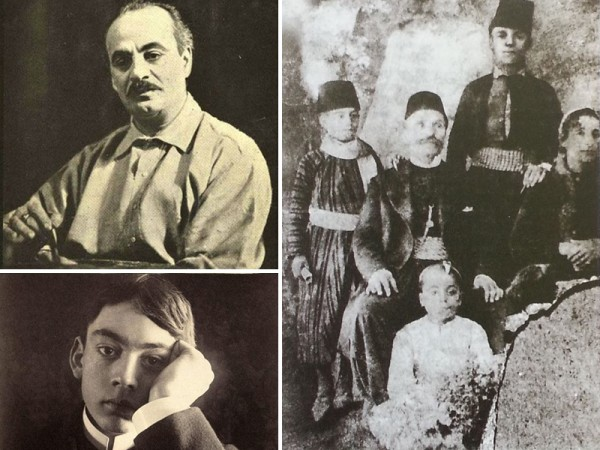 Kahlil Gibran as an adult, a youth, and with his family (standing on the left of his father).