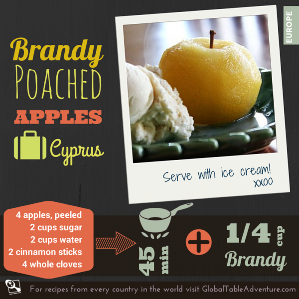 Around the World with Apples >>  Brandy Poached Apples from Cyprus