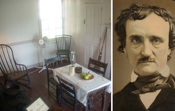Edgar Allan Poe's Kitchen, courtesy of the Poe Museum. Portrait author unknown; most likely George C. Gilchrest, Samuel P. Howes, James M. Pearson, or Andrew J. Simpson, all of Lowell, MA.