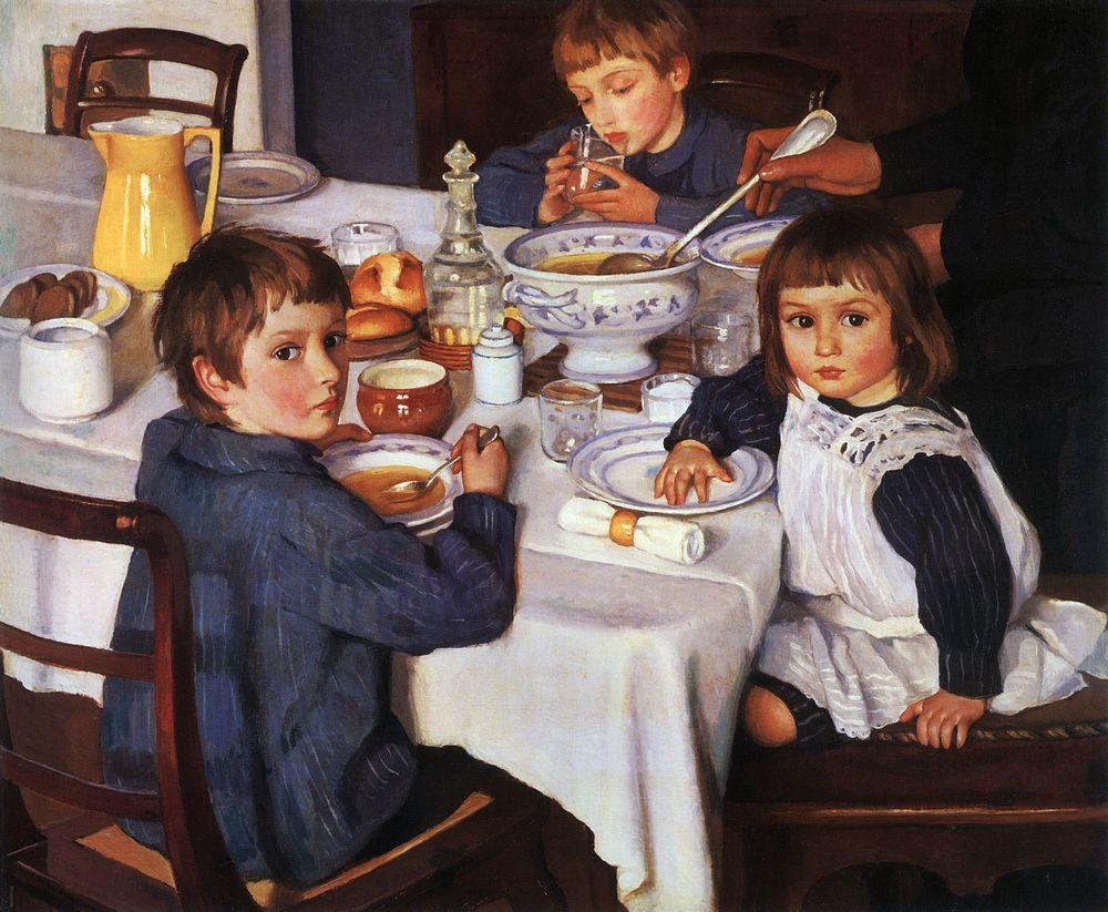 """Zinaida Serebryakova (1914) At Breakfast"" by Zinaida Serebryakova ; Серебрякова - http://entertainment.webshots.com/photo/2963882390037029906CkKXLW. Licensed under Public Domain via Wikimedia Commons - http://commons.wikimedia.org/wiki/File:Zinaida_Serebryakova_(1914)_At_Breakfast.jpg#/media/File:Zinaida_Serebryakova_(1914)_At_Breakfast.jpg"