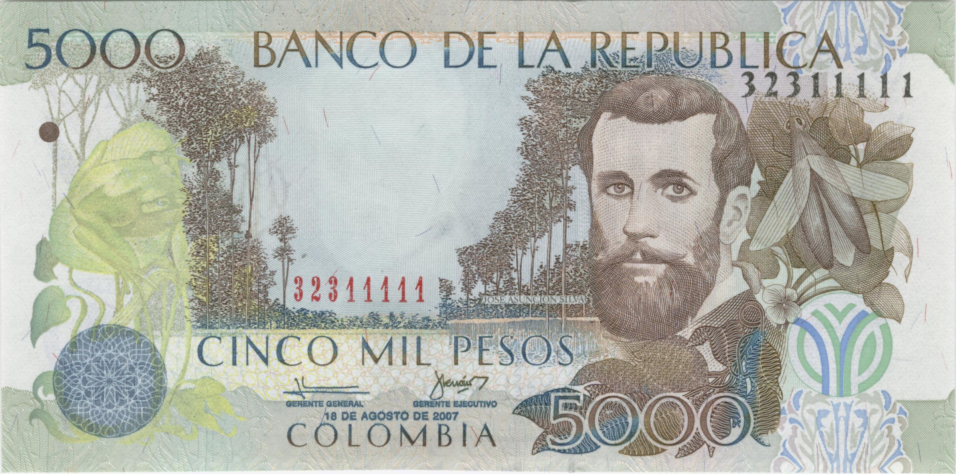 Silva on the 5,000 Pesos bill