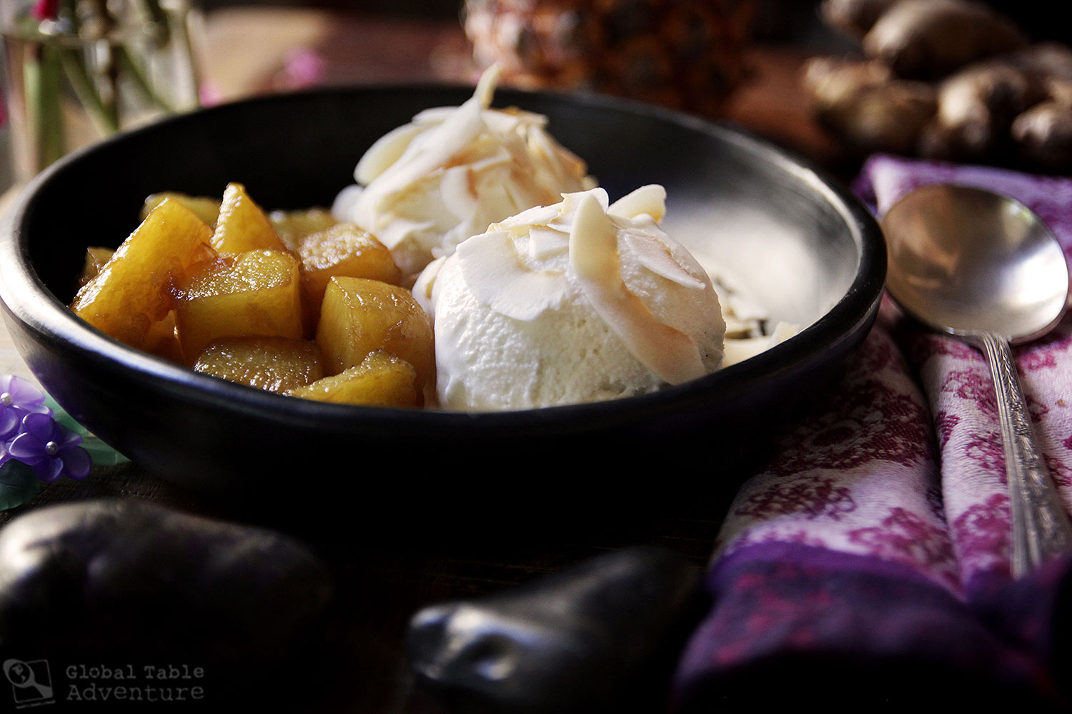 Recipe for Gingered Pineapple Sundae with Toasted Coconut Flakes