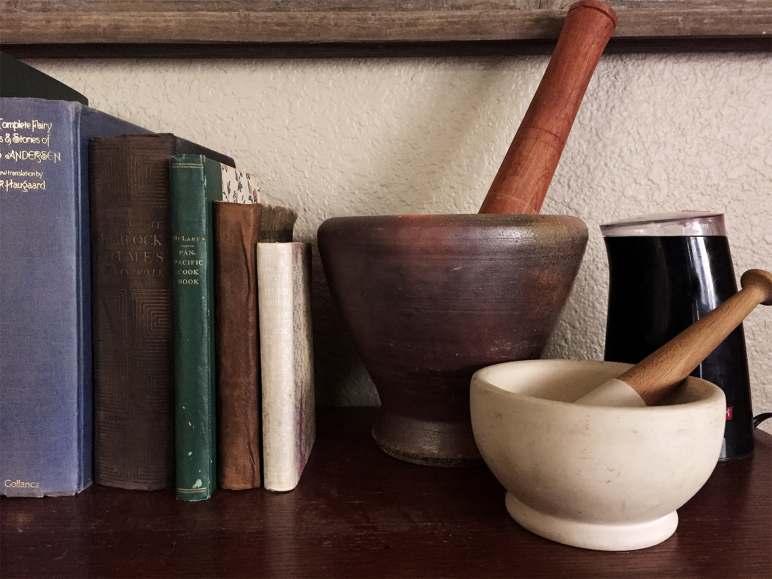 Mortar and pestles are good for rough grinds, while an electric spice grinder is good for a fine powder.