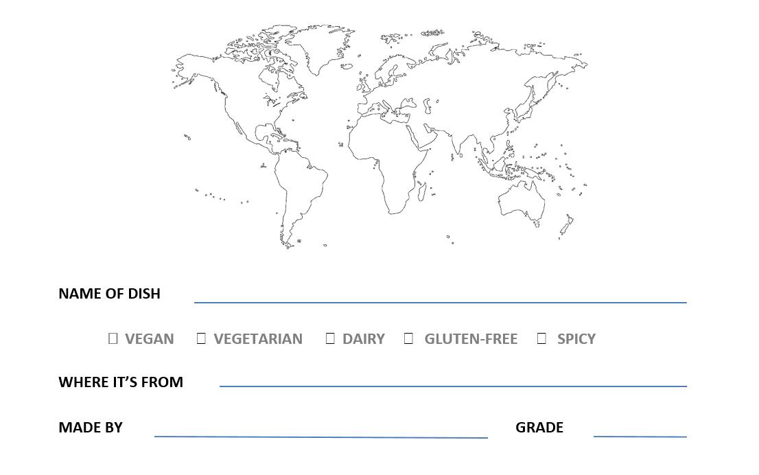 Global Potluck Recipe Card