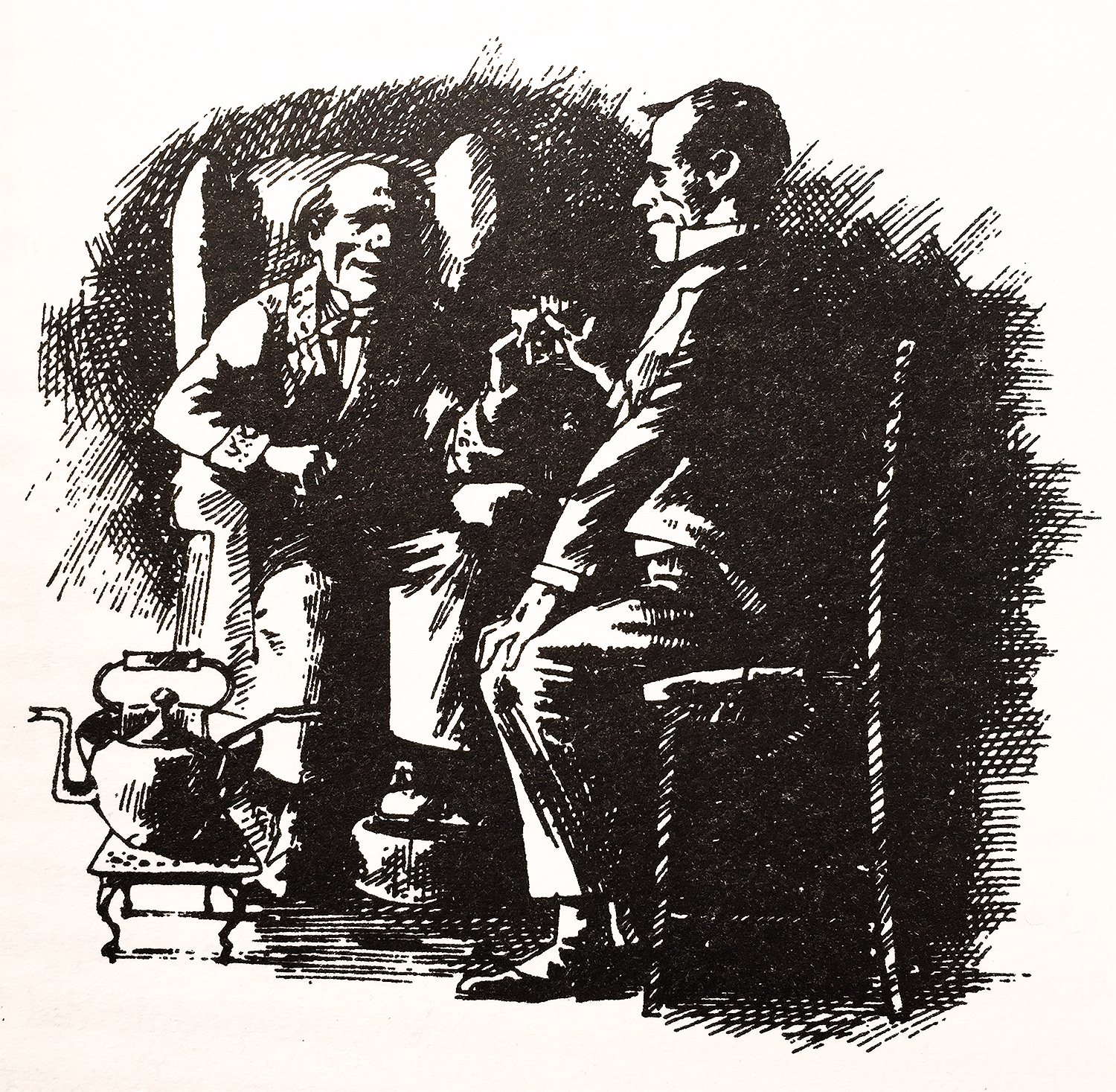 Scrooge and Cratchit share Smoking Bishop in A Christmas Carol by Charles Dickens