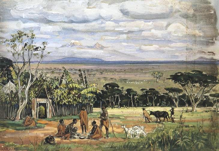 Ernst Platz, Eingeborenensiedlung vor dem Kilimandscharo, 1898
