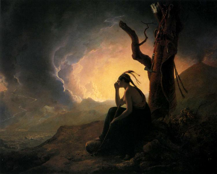 Peace is grace for what you *can't* see // The Widow of an Indian Chief Watching the Arms of Her Deceased Husband. Joseph Wright of Derby (1785)